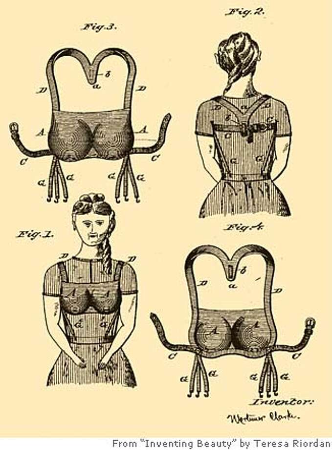 "All purpose: Mortimer Clarke came up with this proto-bra. It held up a skirt and the breasts. Image from ""Inventing Beauty"" by Teresa Riordan"