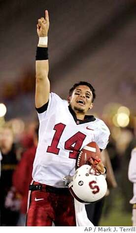 Stanford quarterback Tavita Pritchard celebrates after Stanford defeated Southern California 24-23 in a football game, Saturday, Oct. 6, 2007, in Los Angeles. (AP Photo/Mark J. Terrill) Photo: Mark J. Terrill