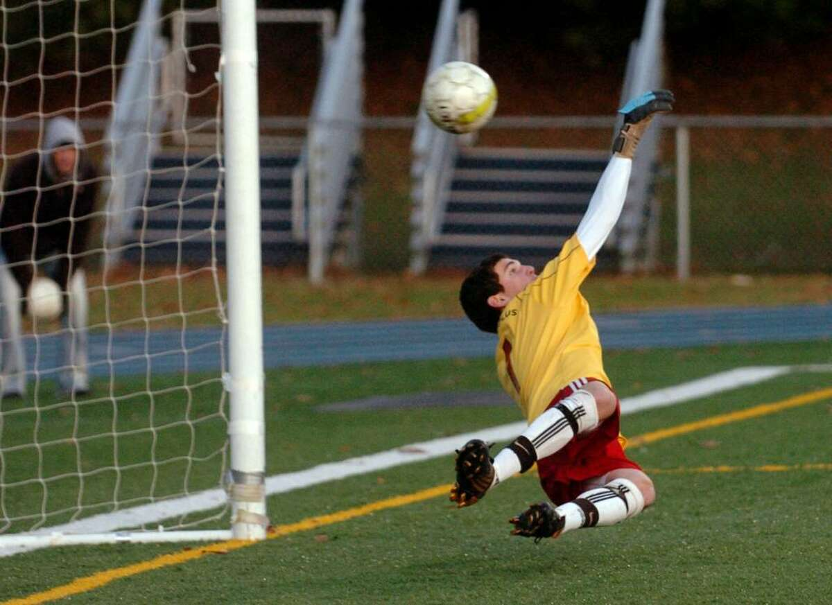 Fairfield Prep's goalie William Steiner fails to stop a Guilford shootout goal, ending SCC soccer action in East Haven, Conn. on Friday Nov. 06, 2009.