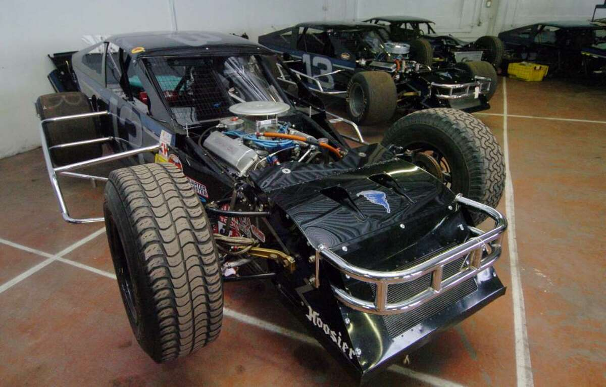 Racing cars being auctioned as part of seized property from James Galante at Metro Auto Body & Towing in Harford, CT, Friday, Nov. 6, 2009.