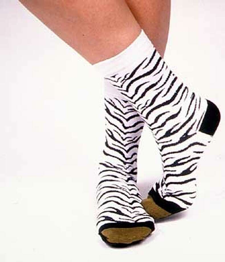 Gold Toe zebra socks, $6, at Macy's West and Nordstrom, San Francisco, and speciality shops. Promotional Photo
