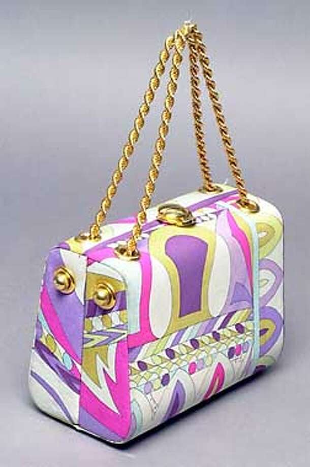 Emilio Pucci print silk handbag, circa 1970, with gold-tone hardware. Apple-green leather lining with one interior pocket. Auction began Friday; bidding started at $300; available at www.sothebys.amazon.com