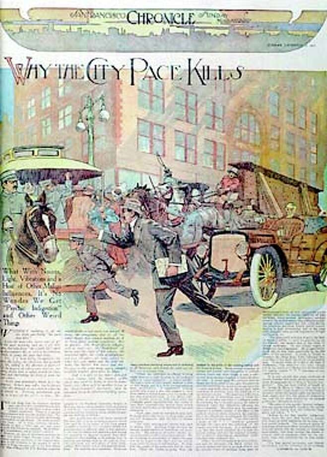 The Chronicle's Sunday Magazine from Dec. 10, 1911 depicts metropolitan life as being even more hectic than today. Chronicle copy photo by Michael Macor / CHRONICLE