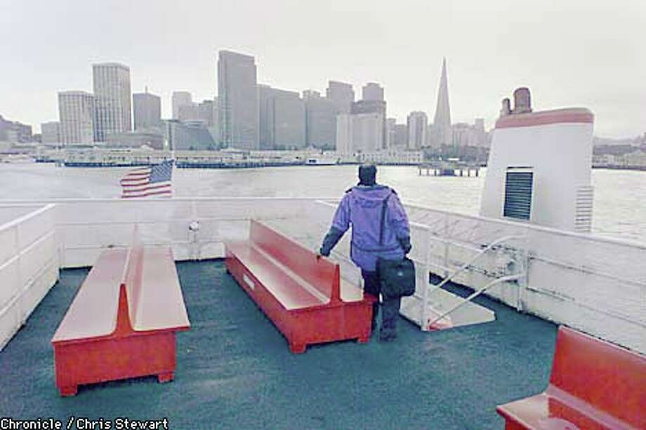 Bishu Chatterjee, a regular rider of The Royal Prince SF-Richmond ferry, often enjoys a nearly-empty upper deck view of the San Francisco bay. Chronicle photo by Chris Stewart