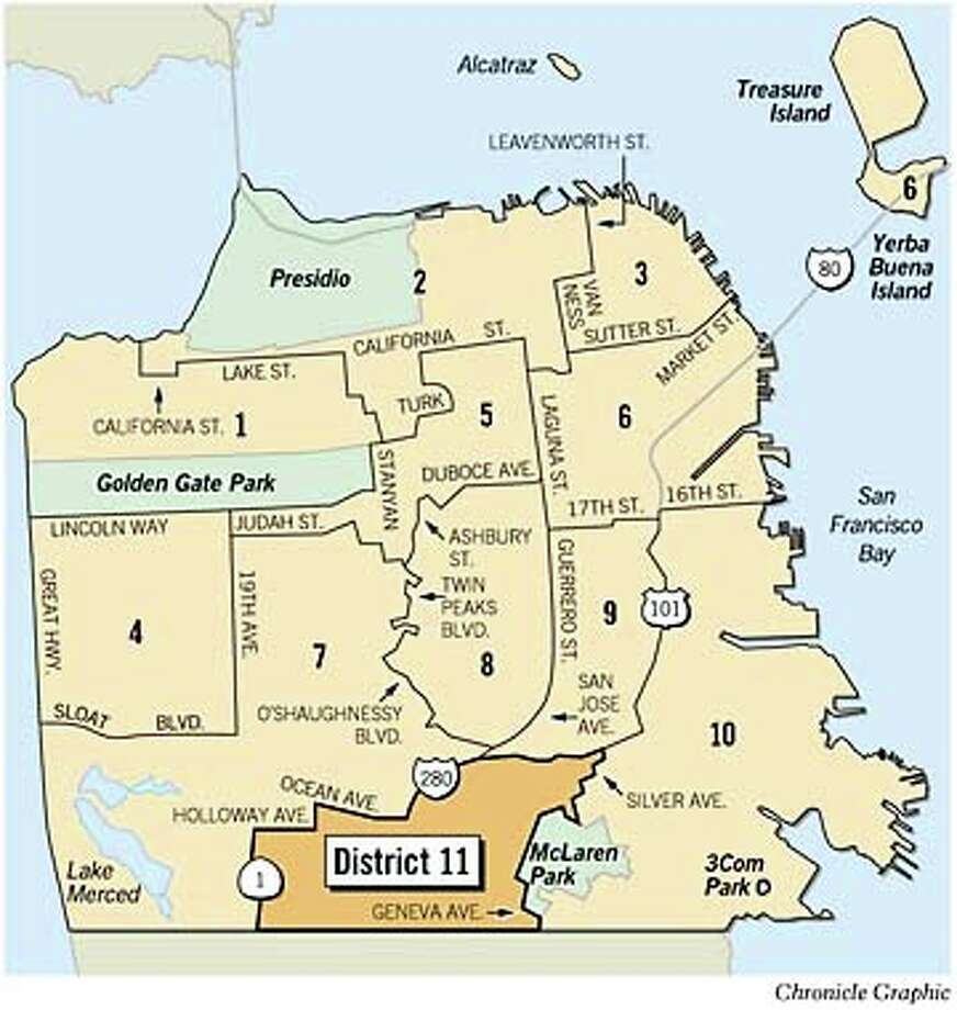 S.F.'s Border Town -- District 11 Feels Left Out - SFGate on sf hospital map, sf building map, sf county map, sf metro map, sf mission map, sf chinatown map, sf bus map, sf street map, sf international map, sf area map, sf zip code map, sf airport map, sf general map, sf city map, sf bart map, union square sf map, sf downtown map, sf board map, sf california map, sf zoo map,