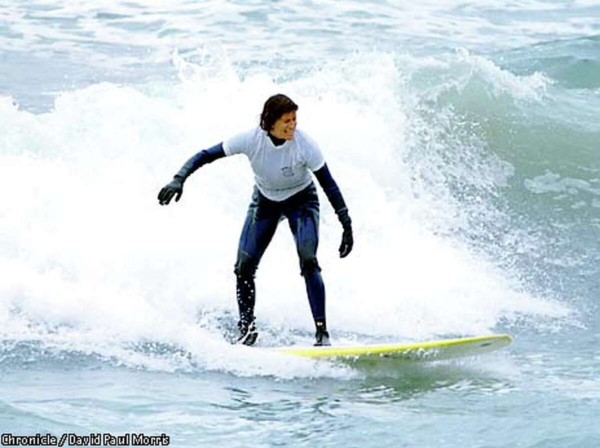 Stephanie Teele competed in a contest for surfers older than 50. Chronicle photo by David Paul Morris