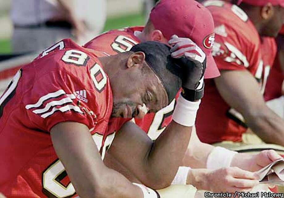 Jerry Rice's expression spoke volumes in the waning moments of the 49ers' third straight loss. Chronicle photo by Michael Maloney / SAN FRANCISCO CHRONICLE