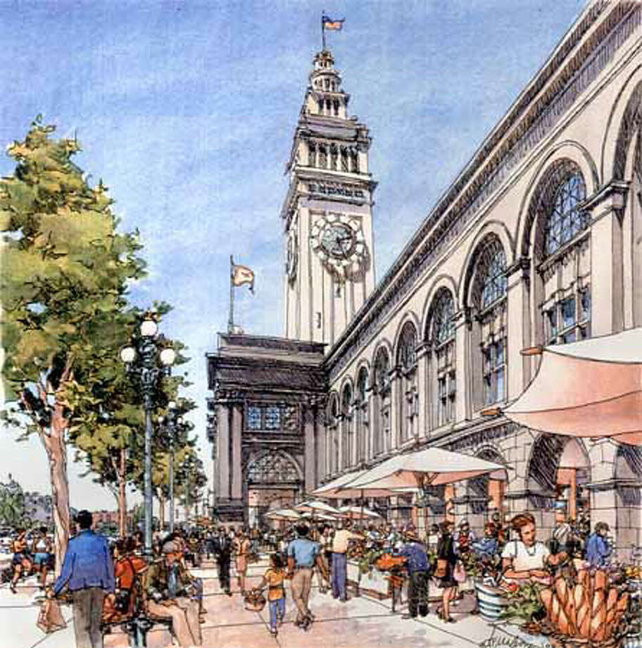 This artist's rendering of the Ferry Building's first floor shows the planned European-style marketplace. Courtesy Wilson-Cornerstone