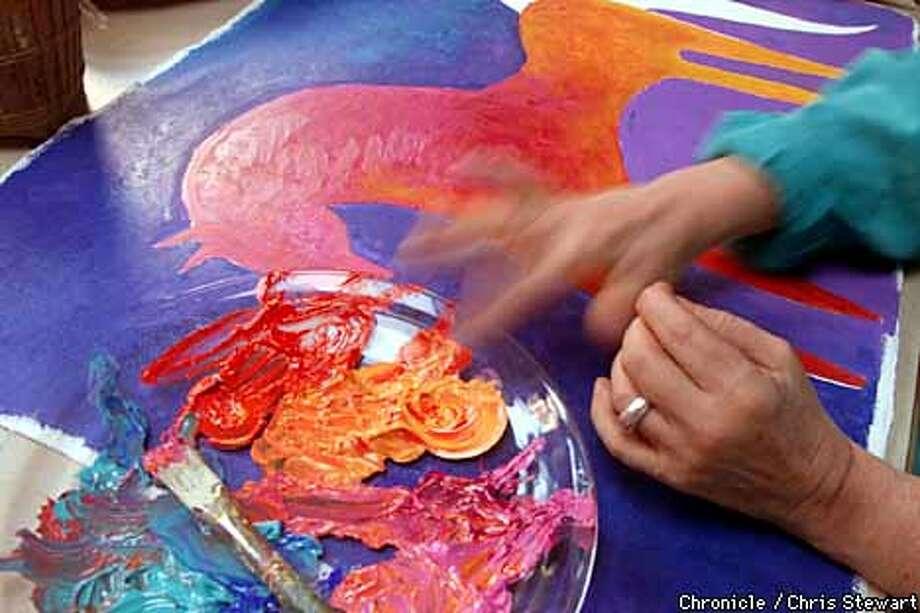 Artist/designer Laurel Burch in her Sausalito studio. Chronicle Photo by Chris Stewart