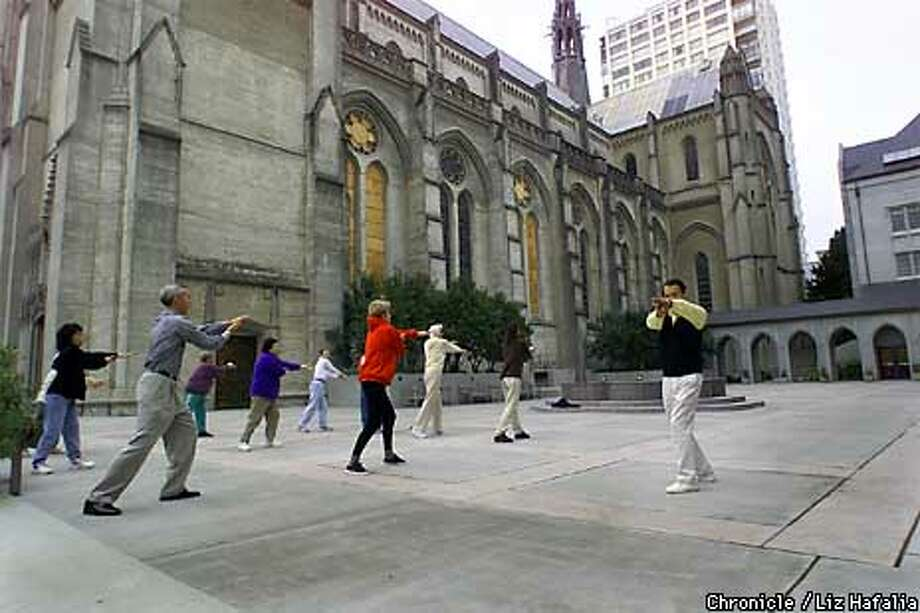 Master Ko Wong led his chi gung class in the courtyard of Grace Cathedral, which will be used by Web glitterati. Chronicle photo by Liz Hafalia / CHRONICLE