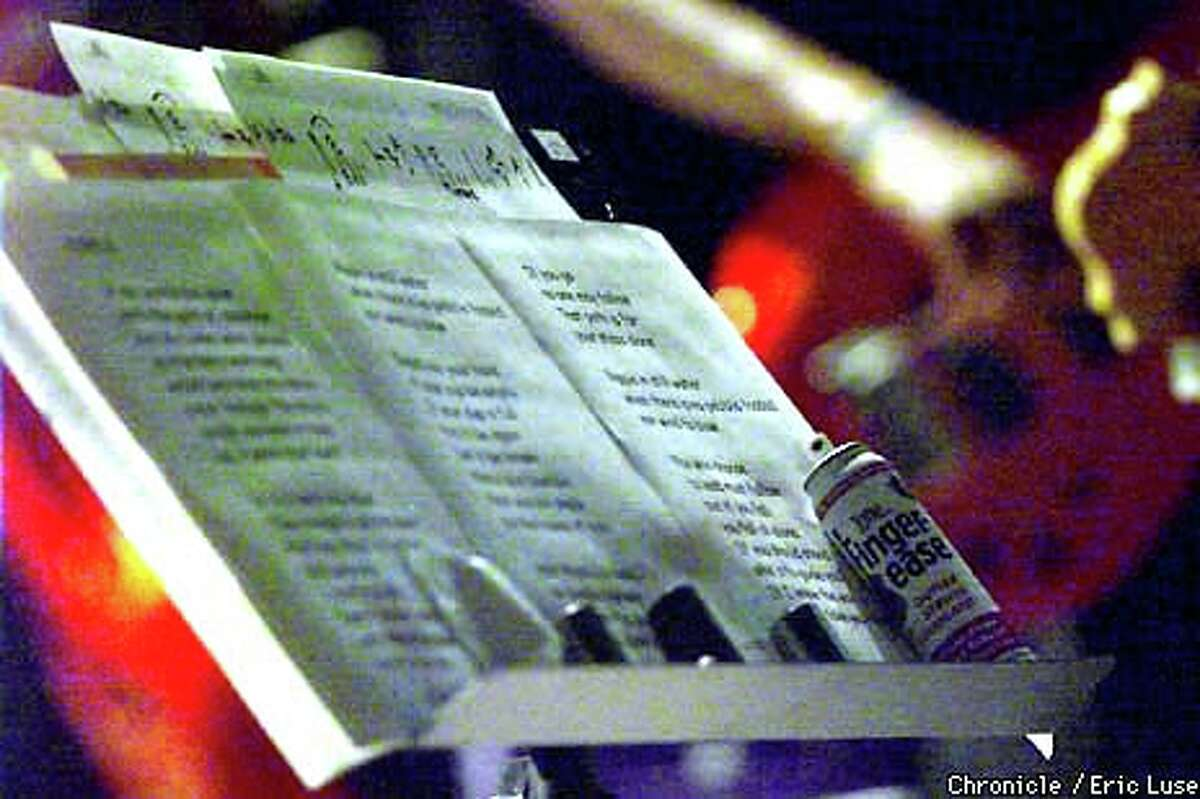 """Bob Weir's music stand held the words to the Grateful Dead song """"Ripple."""" Chronicle photo by Eric Luse"""