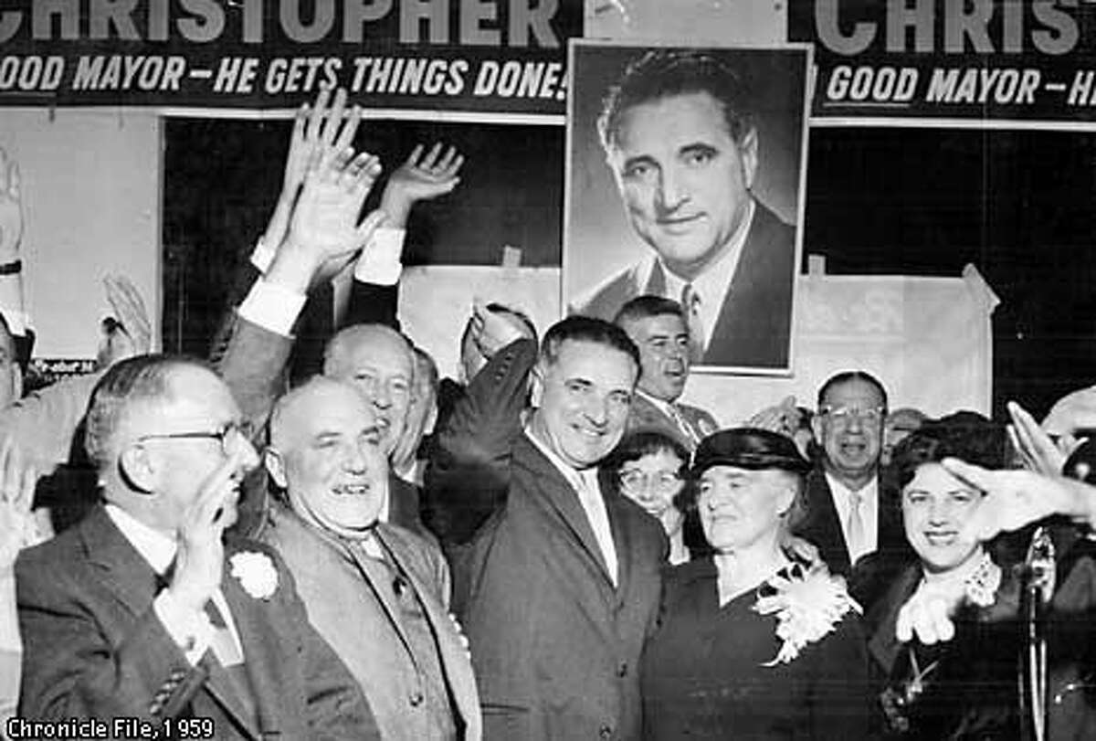 Mayor Christopher with his mother and wife at campaign headquarters on Leavenworth Street in 1959. Chronicle photo by Peter Breinig