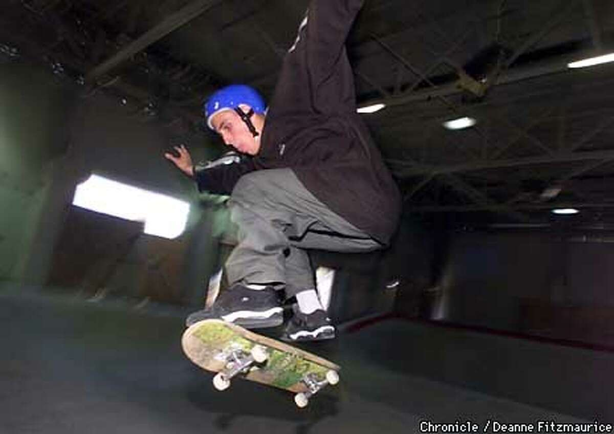 Writer Jordan Robertson tried out the new Vans Skatepark at the Great Mall of the Bay Area in Milpitas. Chronicle photo by Deanne Fitzmaurice