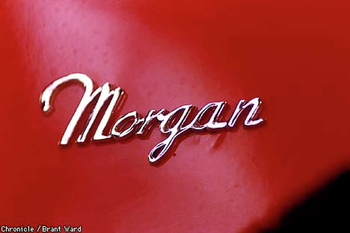 Detail of the nameplate on a 1992 Morgan in Bill Fink's shop. Chronicle Photo by Brant Ward