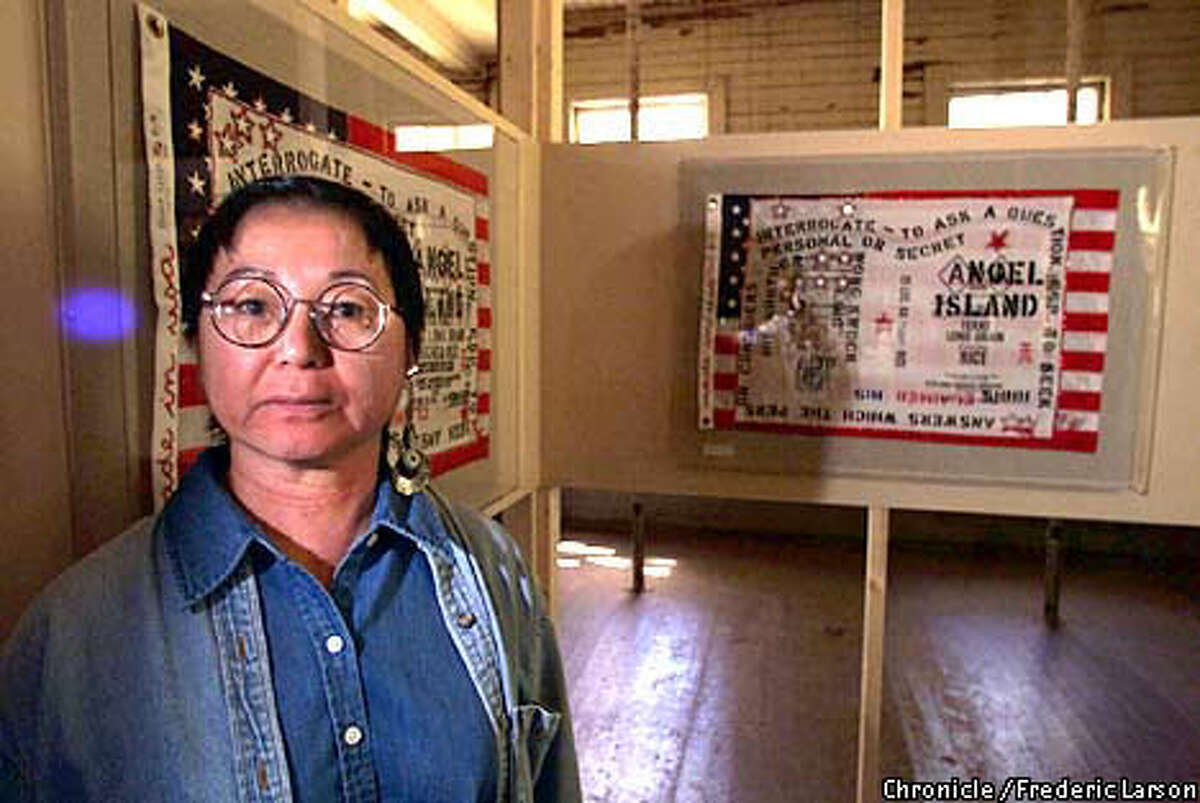 Bay Area artist Flo Oy Wong used the stories of her mother and mother-in-law as inspiration for her mixed-media show, installed in barracks on Angel Island. Chronicle Photo by Frederic Larson
