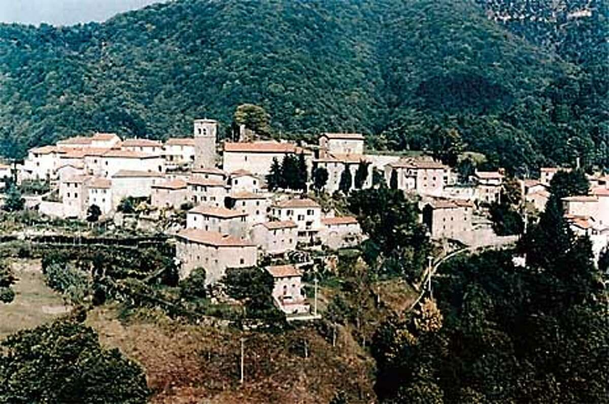 Sommocolonia. Helicopter shot taken before tower ruin was cleared of greenery (note area to the right and above church tower). Courtesy Photo