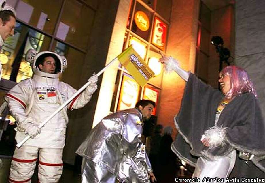 Executives from Wiredplanet.com, a music Web site based in San Francisco, showed up at the Webby Awards dressed as astronauts. Chronicle Photo by Carlos Avila Gonzalez / CHRONICLE