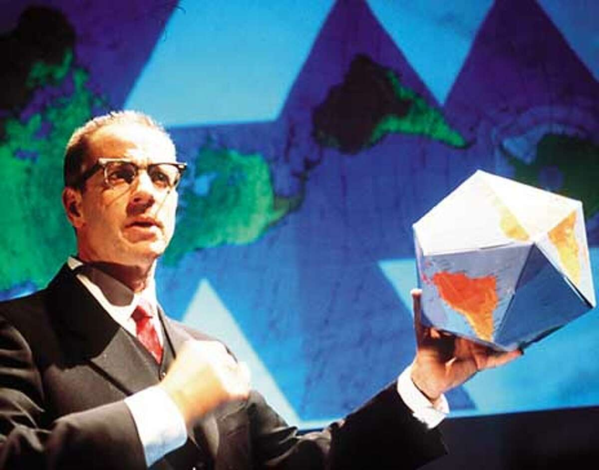 Ron Campbell as R. Buckminster Fuller, who was best known for inventions such as the geodesic dome and the Dymaxion car, and for buckyballs.