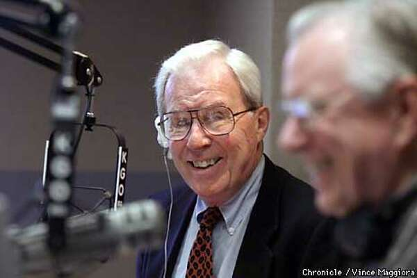 """KGO's Jim Dunbar, with """"Morning News"""" co-anchor Ted Wygant, says in the '60s """"there were stations doing news and stations doing talk. But nobody put it together quite the way that we did."""" Chronicle photo by Vince Maggiora"""