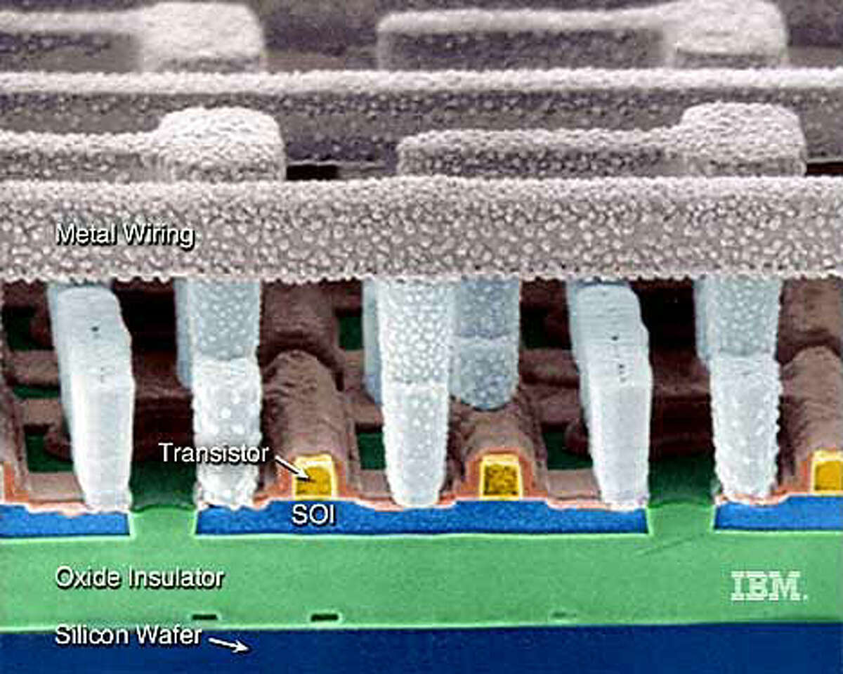 In IBM's chip breakthrough, layers of silicon and oxide insulator lie under the transistors. Photo courtesy IBM