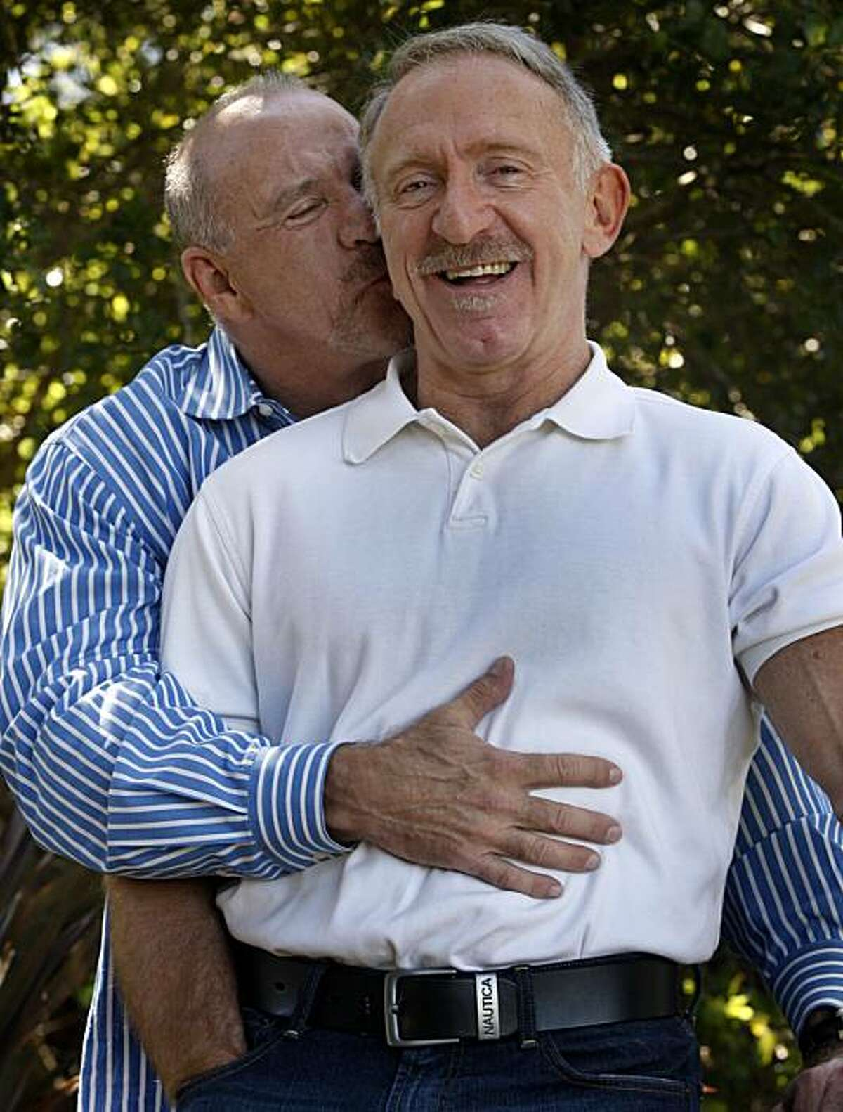Blake Spears (right) and his partner of 35 years Lanz Lowen relax at their home in Oakland, Calif., on Wednesday, July 14, 2010. The unmarried couple recently completed a self-funded four-year study on open relationships among long-term gay male couples.
