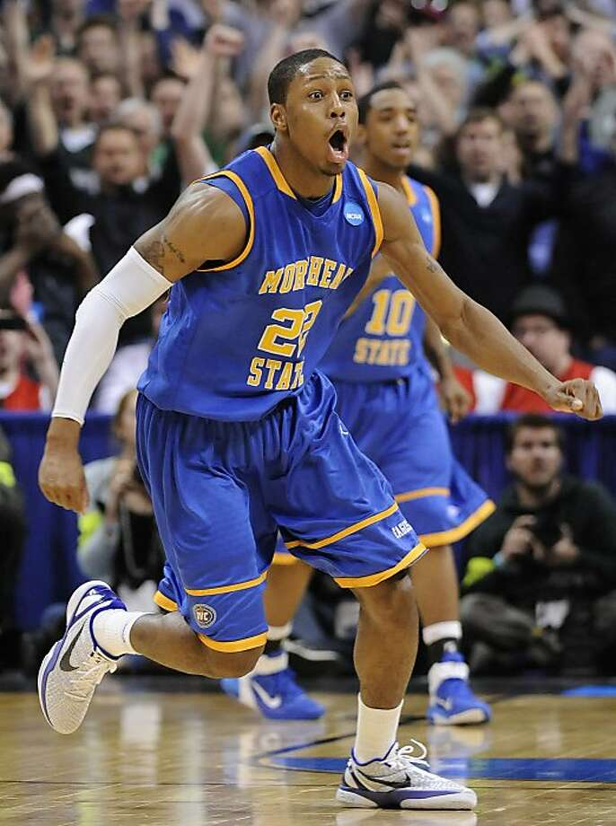 Morehead State guard Demonte Harper (22) reacts beating Louisville 62-61 in a Southwest regional second round NCAA tournament college basketball game, Thursday, March 17, 2011, in Denver. Photo: Jack Dempsey, AP