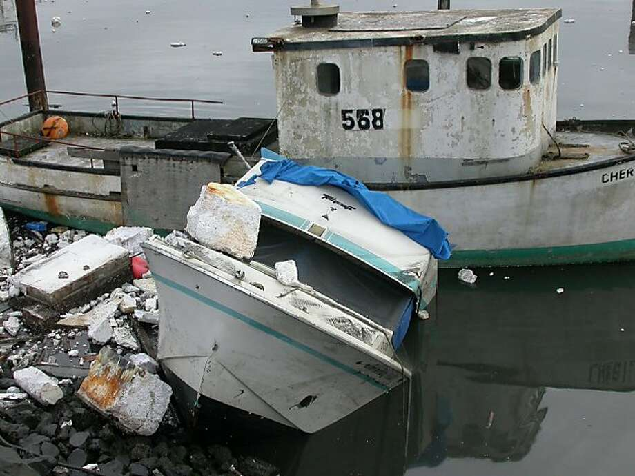 Wrecked boats along edge of Crescent City Harbor. Photo Tom Stienstra. Photo: Tom Stienstra, The Chronicle