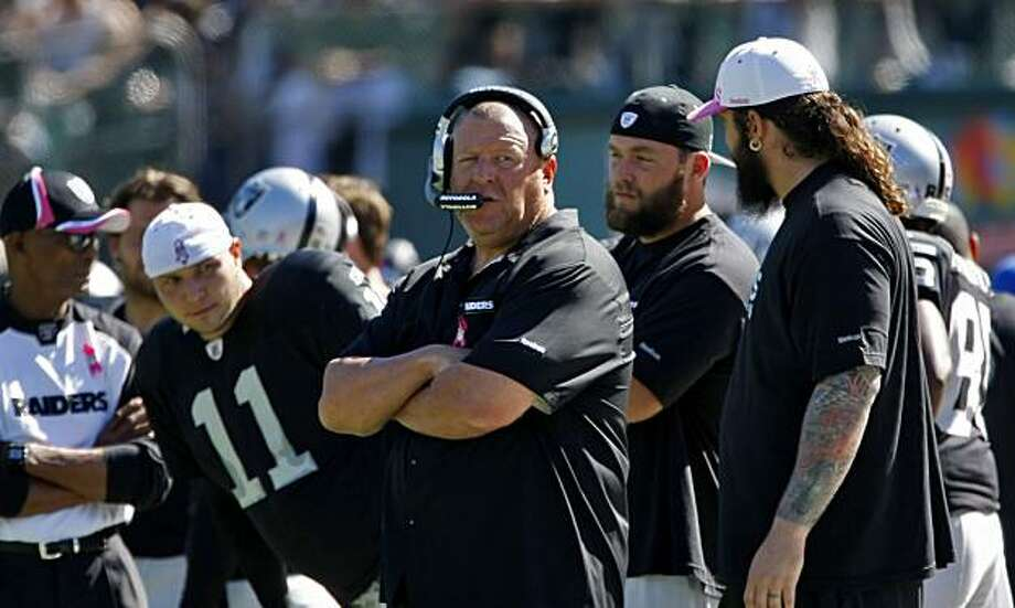 The Oakland Raiders head coach Tom Cable waits for an answer after contesting a play in the first half of the game against the San Diego Chargers at the Oakland-Alameda County Coliseum, Sunday Oct. 10, 2010, in Oakland, Calif. Photo: Lacy Atkins, The Chronicle