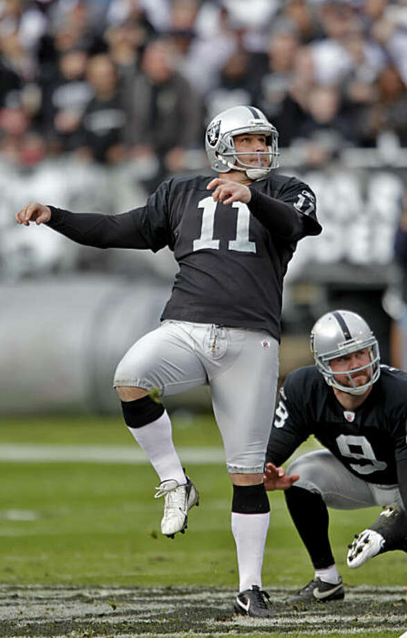 Oakland Raiders Sebastian Janikowski kicks a 59 yard field goal in the first half of the game against the Indianapolis Colts in their last home game, Sunday Dec. 26, 2010, at the Oakland-Alameda County Coliseum in Oakland, Calif Photo: Lacy Atkins, The Chronicle