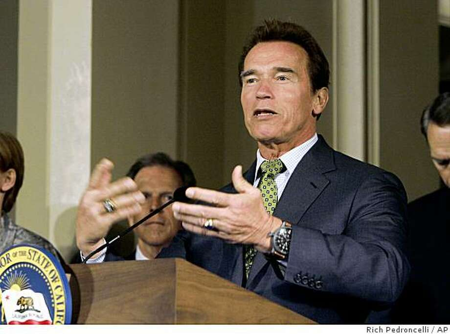 Gov. Arnold Schwarzenegger declares a state of emergency to help California agencies coordinate efforts in response to the outbreak of swine flu, during a Capitol news conference in Sacramento , Calif., Tuesday, April 28, 2009.  (AP Photo/Rich Pedroncelli) Photo: Rich Pedroncelli, AP