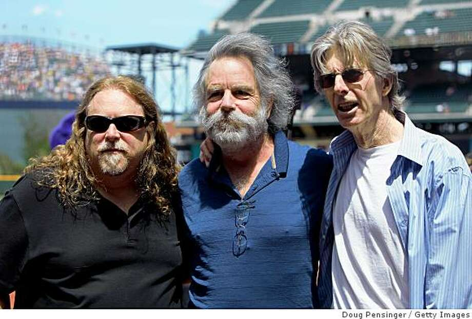 DENVER - MAY 07:  (L-R) Members of lengendary rock band The Dead, Warren Haynes, Bob Weir and Phil Lesh, pose for a photo after singing the national anthem prior to the game between the San Francisco Giants and the Colorado Rockies during MLB action at Coors Field on May 7, 2009 in Denver, Colorado.  (Photo by Doug Pensinger/Getty Images) Photo: Doug Pensinger, Getty Images
