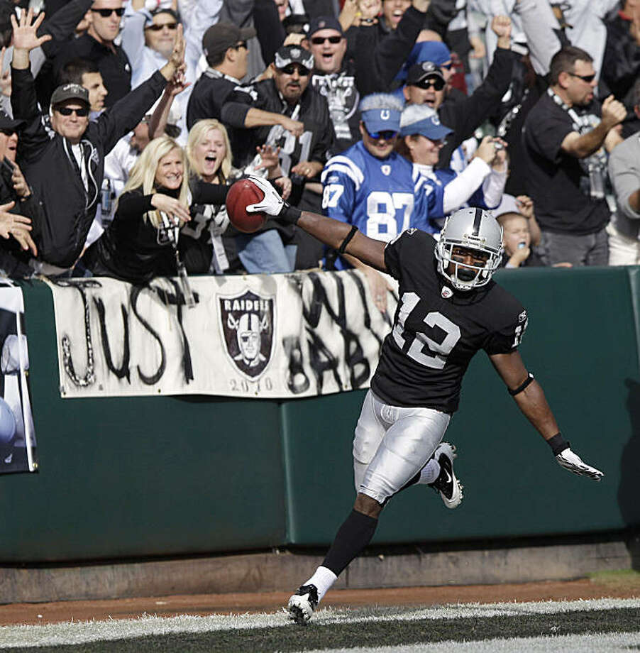 Oakland Raiders wide receiver Jacoby Ford (12) celebrates after scoring a touchdown on a 99-yard kickoff return against the Indianapolis Colts in the first quarter of an NFL football game in Oakland, Calif., Sunday, Dec. 26, 2010. Photo: Jeff Chiu, AP