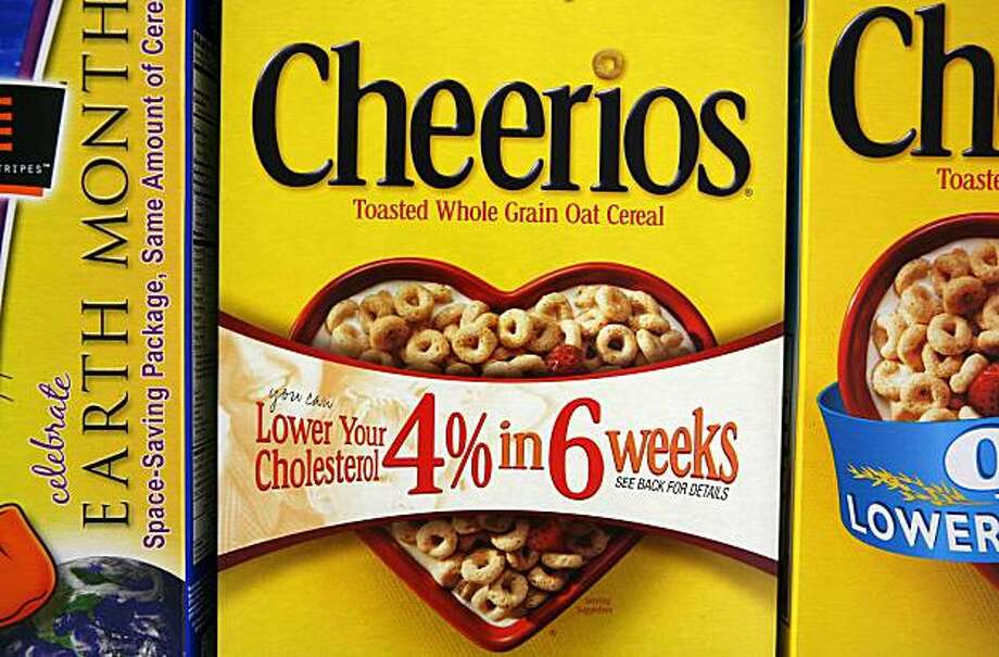 BRISBANE, CA - MAY 12:  Boxes of Cheerios cereal are displayed on a shelf at the Midtown Market May 12, 2009 in Brisbane, California. The Food and Drug Administration has issued a warning letter to Cheerios maker General Mills telling the company to stop making claims in its advertising the Cheerios will lower cholesterol and treat heart disease. (Photo by Justin Sullivan/Getty Images) Photo: Justin Sullivan, Getty Images