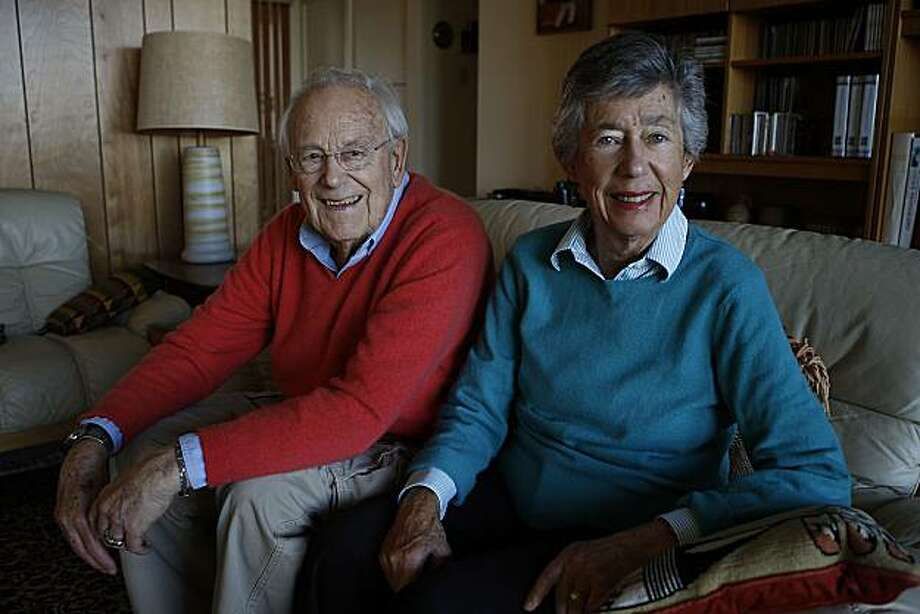Rolf Beier and Florence Beier relaxing at home in San Mateo, Calif., on Thursday, February 3, 2011.  Dedicated peace activists, they are members of the Beyond War movement, and also participated in an Israel and Palestinian peace group.  Rolf was a German soldier, and Florence is Jewish. Photo: Liz Hafalia, The Chronicle