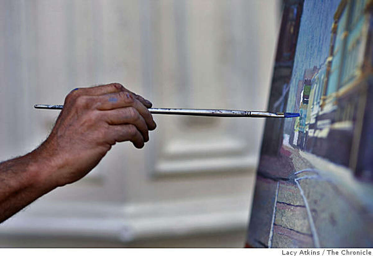 Painter Anthony Holdsworth works on his painting of the street corner at the Farmers Market, Friday April 17, 2009, in Oakland, Calif.