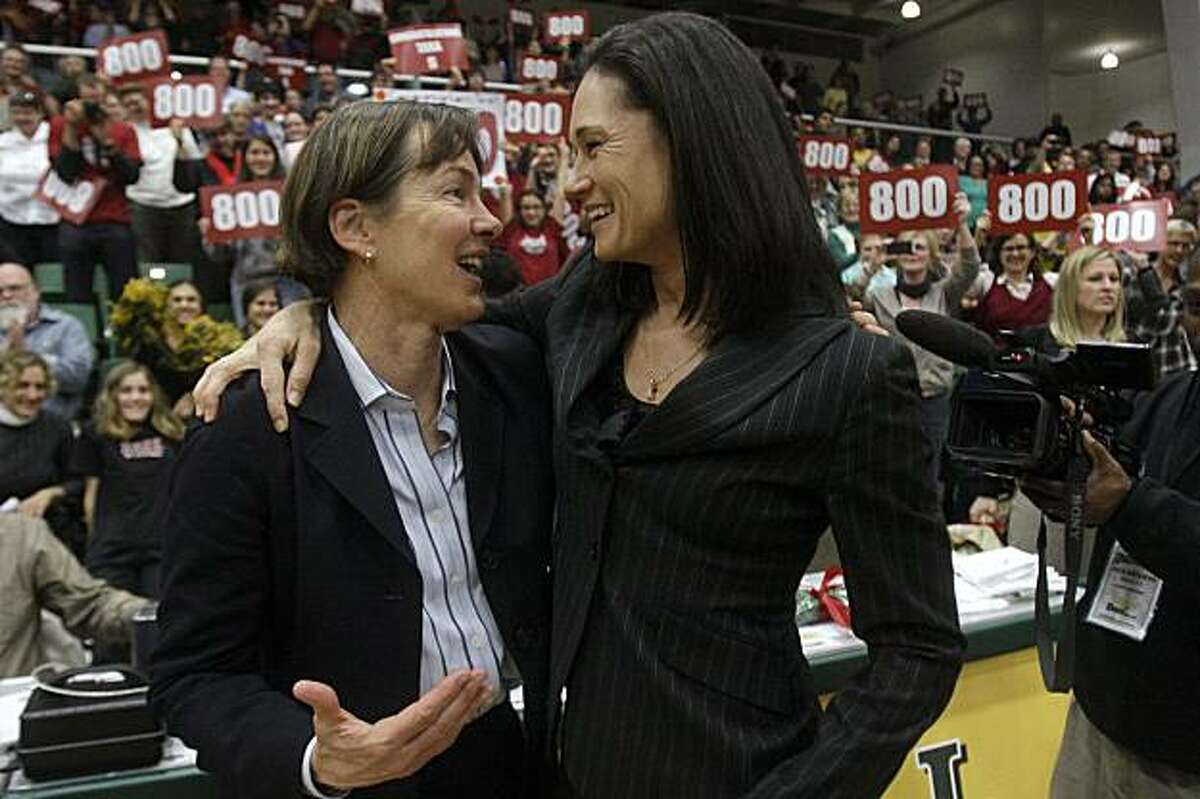 Stanford coach Tara VanDerveer, left, hugs former player and San Francisco coach Jennifer Azzi after Stanford beat San Francisco 100-45 in an NCAA college basketball game in San Francisco, Wednesday, Dec. 22, 2010. It was VanDerveer's 800th career victory.
