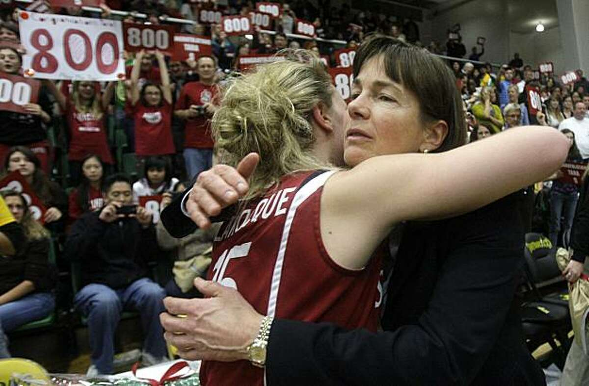 Stanford head coach Tara VanDerveer, right, celebrates with guard Lindy La Rocque (15) after Stanford beat San Francisco 100-45 for VanDerveer's 800th career coaching victory in an NCAA college basketball game in San Francisco, Wednesday, Dec. 22, 2010.
