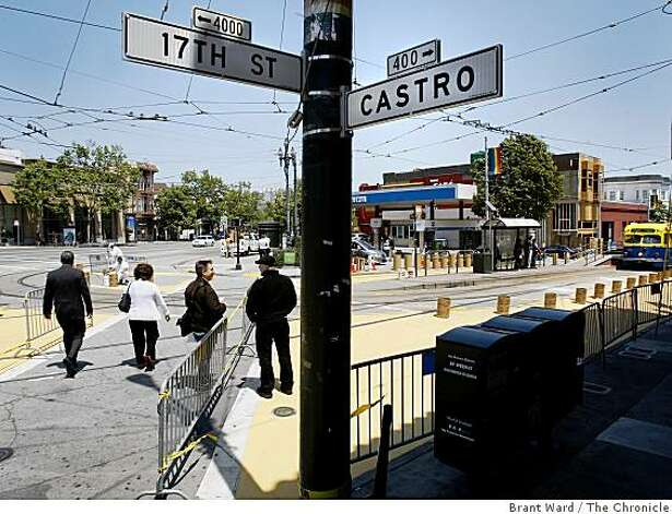 A view from 17th Street and Castro where the small plaza is being built. A small stretch of 17th Street near Castro will be turned into a trial pedestrian plaza, and a no-car zone. Photo: Brant Ward, The Chronicle