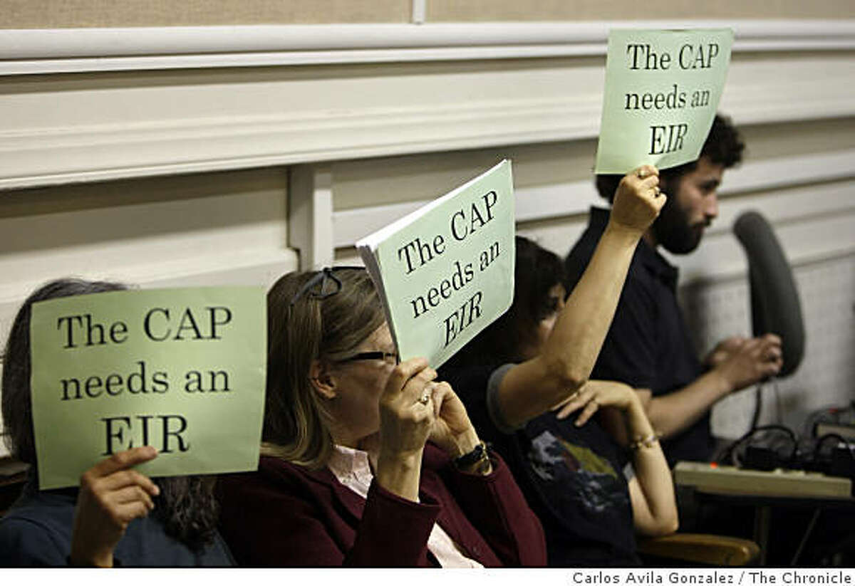 Berkeley residents show their opposition to the Berkeley Climate Action Plan at the city council meeting on Tuesday, May 6, 2009.