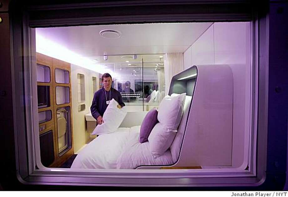 Similar to a hotel planned for SFO's international terminal is the Yotel at Gatwick (London) Airport. Pictured is a premium room in the Yotel in September 2007.  (Jonathan Player/The New York Times) Photo: Jonathan Player, NYT