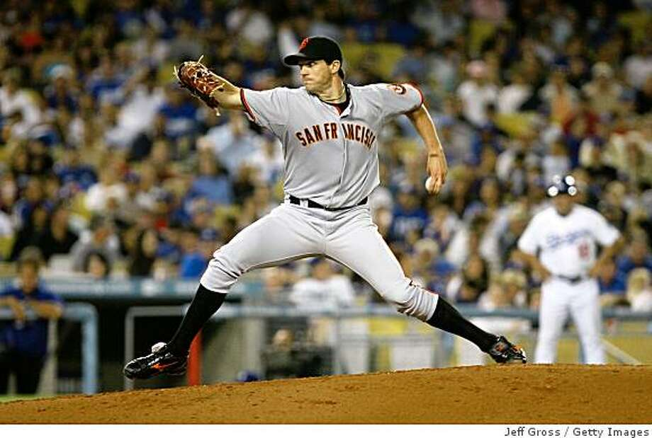 LOS ANGELES, CA - MAY 08:  Barry Zito #75 of the San Francisco Giants throws a pitch against the Los Angeles Dodgers at Dodger Stadium on May 8, 2009 in Los Angeles, California.  (Photo by Jeff Gross/Getty Images) Photo: Jeff Gross, Getty Images