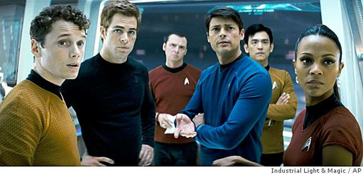 From left, Anton Yelchin as Chekov, Chis Pine as James T. Kirk, Simon Pegg as Scotty, Karl Urban as Bones, John Cho as Sulu and Zoe Saldana as Ohura are shown in a scene from,