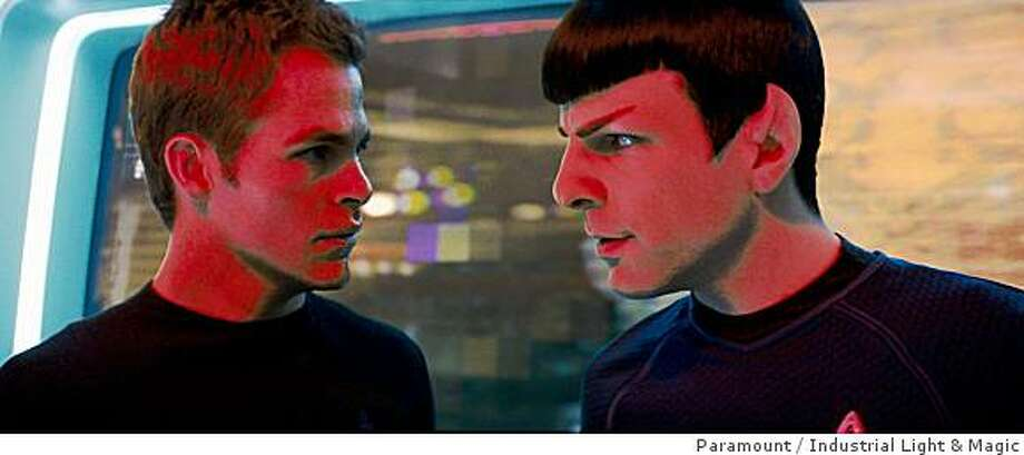 "Chris Pine (left) as James T. Kirk and Zachary Quinto as Spock in ""Star Trek"" (2009).Star Trek (2009) Directed by: J.J. Abrams Photo: Paramount, Industrial Light & Magic"