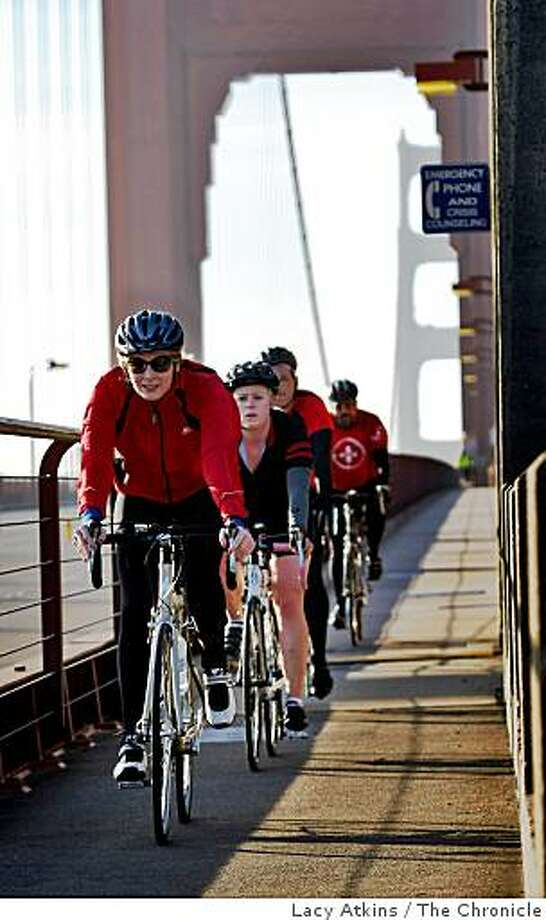 Bike riders from the group Positive Pedaler start their training for the World AIDS Ride, as they ride along the westend of the Golden Gate Bridge, Sunday Nov. 30, 2008, in San Francisco, Calif.  Positive Pedaler is a group of riders who raises money and awareness to stop AIDS. Photo: Lacy Atkins, The Chronicle