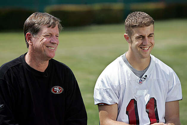 San Francisco 49ers quarterback Alex Smith, right, and new offensive coordinator Norv Turner, left, smile during an interview during a mini camp at 49ers headquarters in Santa Clara, Calif., Friday, May 5, 2006. Turner was head coach of the Oakland Raiders last season. Photo: Paul Sakuma, ASSOCIATED PRESS
