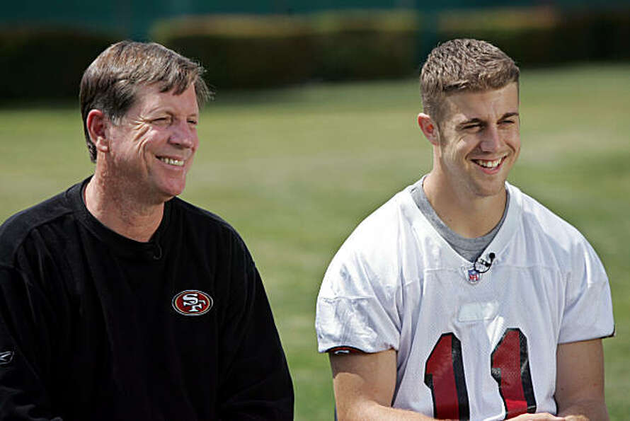 San Francisco 49ers quarterback Alex Smith, right, and new offensive coordinator Norv Turner, left,