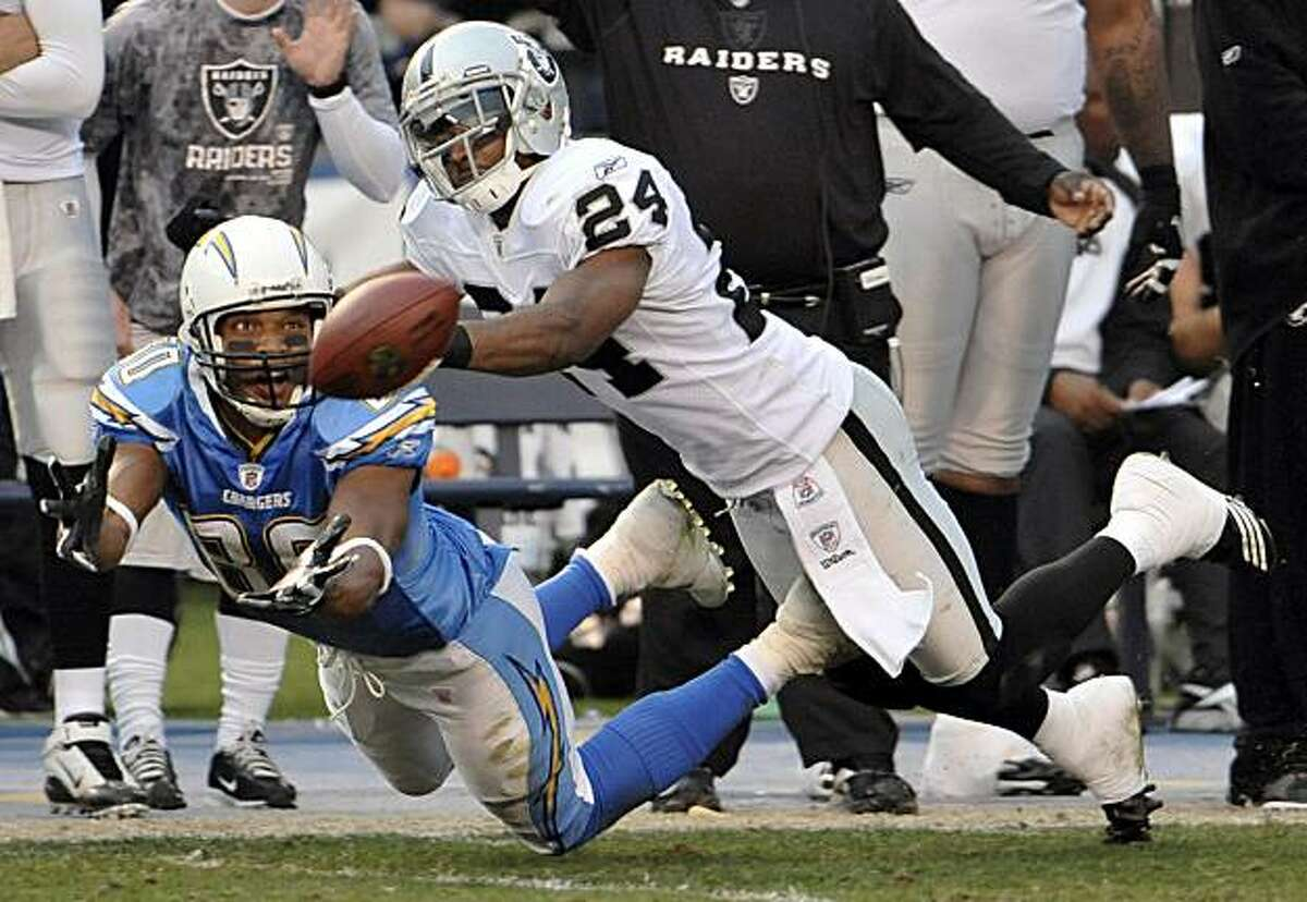 San Diego Chargers wide receiver Malcom Floyd, left, reaches for a catch as Oakland Raiders safety Michael Huff defends in the second half of their NFL football game Sunday, Dec. 5, 2010, in San Diego. The play was ruled as an incomplete catch.