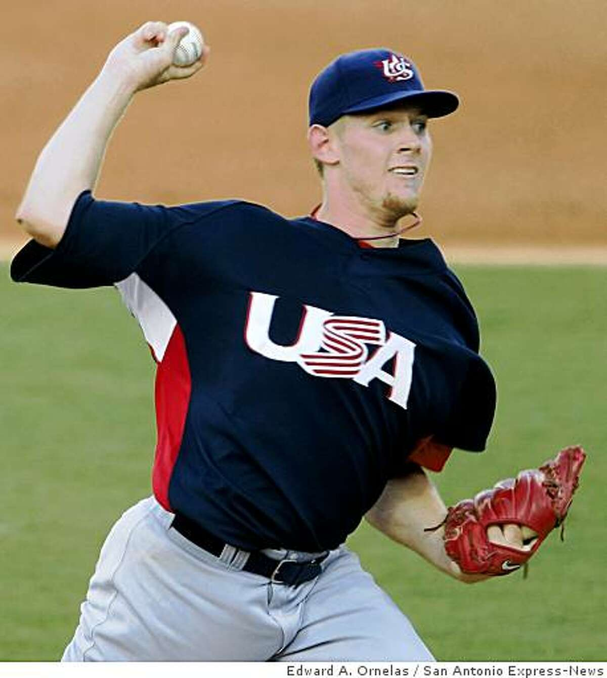 FOR SPORTS - USA's Stephen Strasburg pitches against Cuba during a semifinal game at the 2008 Beijing Olympics Friday Aug 22, 2008 in Beijing, China. Cuba won 10-2. (PHOTO BY EDWARD A. ORNELAS/eornelas@express-news.net)