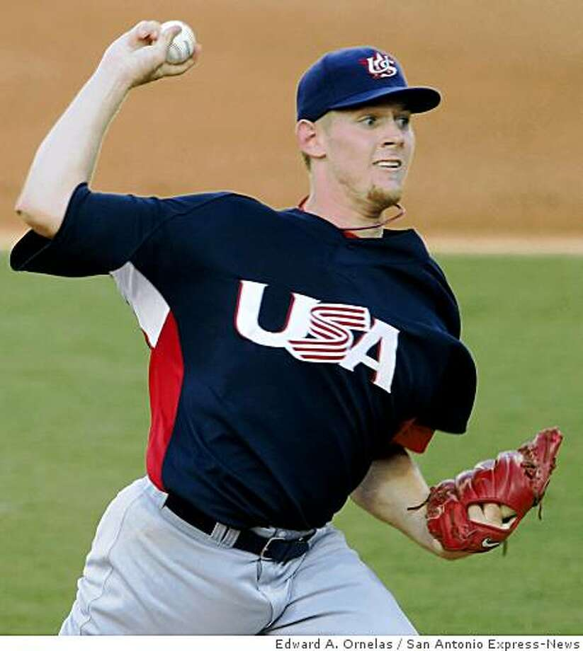 FOR SPORTS - USA's Stephen Strasburg pitches against Cuba during a semifinal game at the 2008 Beijing Olympics Friday Aug 22, 2008 in Beijing, China. Cuba won 10-2. (PHOTO BY EDWARD A. ORNELAS/eornelas@express-news.net) Photo: Edward A. Ornelas, San Antonio Express-News