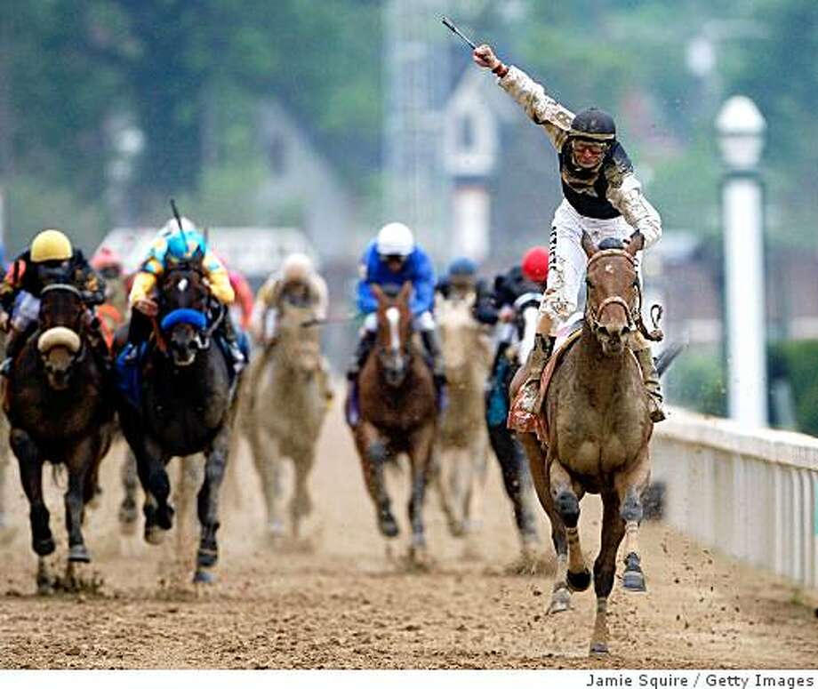LOUISVILLE, KY - MAY 02:  Jockey Calvin Borel atop Mind That Bird crosses the finish line to win the 135th running of the Kentucky Derby on May 2, 2009 at Churchill Downs in Louisville, Kentucky.  (Photo by Jamie Squire/Getty Images) Photo: Jamie Squire, Getty Images